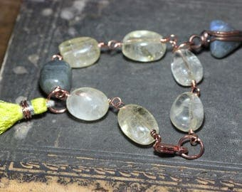 Citrine Bracelet Antiqued Copper Wire Wrapped Citrine Nugget Luxe Rustic Jewelry