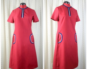 1960's 1970's Mod Scooter Dress Large/ XL // Red White Blue