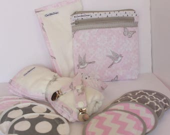 Breastfeeding gift set, Wet Dry Bag, 4 Pairs Reusable Nursing Pads, Bamboo Gauze Blanket, Burp Cloth, Nursing Cover strap