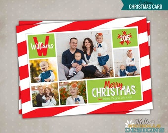 Red & Lime Multi Picture Christmas Card, Custom Modern Printable Holiday Greeting Card, Merry Christmas