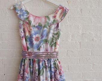 Floral Tea Dress  { Mauve  } size 6