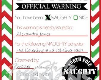 Christmas Elf Naughty Note Printable