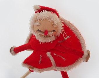 Vintage Santa Pose Doll Ornament Santa in Red Skating Costume Christmas Chenille Holiday Decor Japan