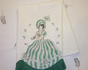 WINTER CLEARANCE SALE Vintage Towel Southern Belle w a Parasol