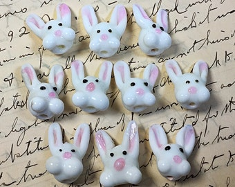 Lot of 7 vintage bunny beads glass Easter