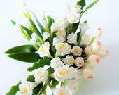 Miniature Polymer Clay Handmade Supplies Flowers, Mixed White Elegant, 1 pcs.