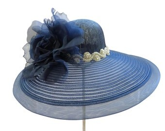 """Women's Kentucky Derby Hat, Spring Fashion Easter Hat, Wedding Guest Hat, Garden and Tea Party Hat in Navy Blue -- """"The Lady Loves Blue"""""""