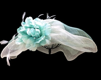 """Women's Kentucky Derby Hat, Tea Party Hat, Downton Abby Style, Spring Fashion Easter Hat in Tonal Mint Green and Ivory is- """"Mint to Be Seen"""""""