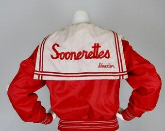 Vintage 1950s Oklahoma Sooners Soonerettes Cheerleader Captain Jacket, Butwin Label