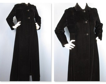 Vintage 1940s / 50s Opera Coat, Black Velvet, Full Length, Sz S
