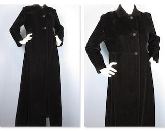 Vintage 1940s / 50s Opera Coat, Black Velvet, Full Length, Sz S