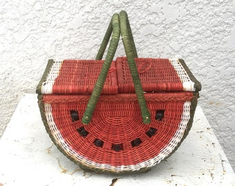 Vintage Watermelon Wicker Picnic Basket - Black Wood Beads