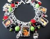 Frida Kahlo Jewelry 10-Picture Bracelet, Frida Kahlo Bracelet, Mexican Jewelry Bracelet, Valentine Jewelry Bracelet, Red Rose Jewelry