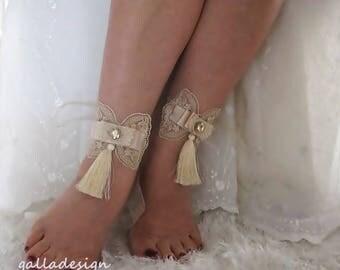 Beach barefoot sandals, caramel lace tassel Beach sandals , wedding barefoot sandals, Bellydance,  Beach Pool, tassel, bride bridesmaid gift