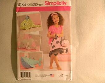 Uncut Simplicity Pattern 1084 Adorable Stuffed Animal Bags