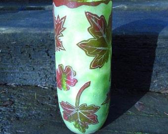 Large Glass Vase - Leaf design - Green and Red Vase - Sandblasted Autumn Leaves - Welsh Glass Vase - Glass Flower Vase - Seaglass inspired -