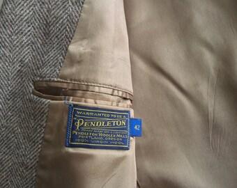 Vintage Mens Pendleton Western Leather Herringbone Tweed Blazer Jacket Size 42 DRY CLEANED