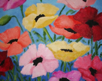 POPPIES Painting - Multicolor Floral Art - 20x24 deep edge canvas - Textured Painting - Pink - Yellow - Red - Original Poppy art