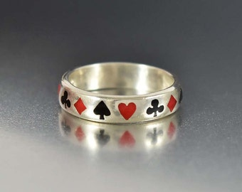 Sterling Silver Enamel Poker Ring, Antique Sterling Band Ring, Deck of Cards Ring, Eternity Ring, Diamond Ring, Playing Cards Ring