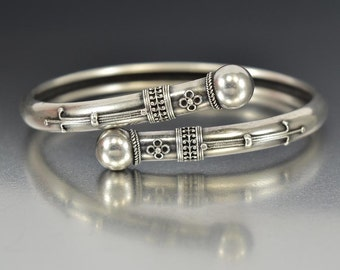 Antique Bypass Etruscan Silver Bracelet, Victorian Sterling Bangle, 1800s Antique Jewelry, Memorial Silver Cuff Bracelet