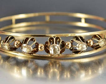 Antique Victorian Gold Diamond Bracelet, Rose Cut Diamond, 1800s Antique Jewelry, Gold Vintage Diamond Bracelet , Anniversary Gift