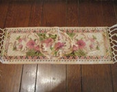 "Lovely Velvet on Tapestry Tabble Runner, Vintage, Old, 1930s, 23"" long, 5.5"" fringe, 8.5"" wide, Beautiful Muted 1930s colors, Rose, Gold"