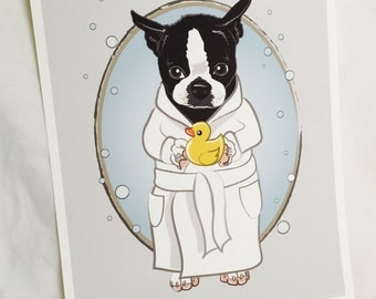 Bubbly Boston Terrier - 8x10 Eco-friendly Print