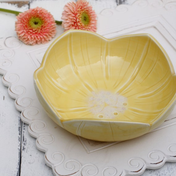 yellow porcelain flower bowl