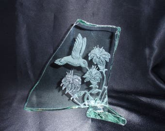 Etched Humming Bird, Glass Humming Bird, Carved Humming Bird, Graduation Gift, Wedding Gift, Carved Glass Bird, Glass Home Decore