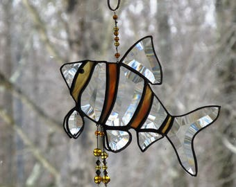 wind chime stained glass sun catcher, tiger barb fish, beveled glass wind chimes, wind songs, glass beads, glass art, art and collectibles