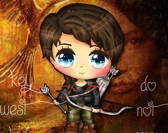 Hunger Games - doll & child size available - Katniss Everdeen Knit Fabric Panel
