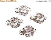 SALE 2 Flower Clasps, Single Strand Clasps, Flower Box Clasp, Brass Clasp, Silver Plated Clasp,14mm x 9mm x 5mm, SKU 3740
