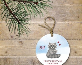 Baby's First Christmas Ornament, Raccoon Ornament, Woodland Ornament, Baby Shower Gift, New Mom, First Christmas as Mommy, New Mother Gift