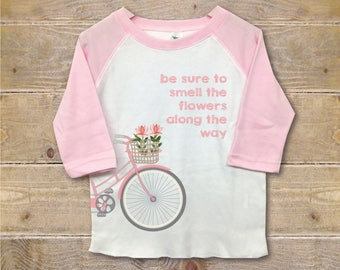 Girl's Shirt, Personalized Shirt, Toddler Shirt, Toddler Clothes, Trendy, Flowers, Pink, 3rd Birthday, 4th Birthday, Bicycle, Bikes, Pink