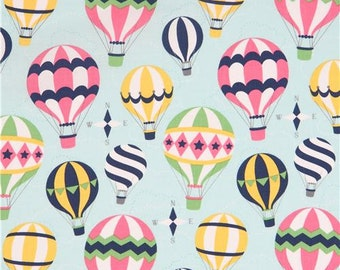 210985 light blue with colorful hot air balloon fabric by Michael Miller Up and Away