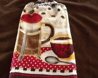 Double Hanging Kitchen Towels / Coffee Pot and Cup Towel/Hanging Towels /Hanging Kitchen Towels