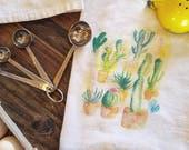 Succulent dish towel, dish towel, cactus dish towel, flour sack towel, kitchen towel, plant tea towel, plant lady