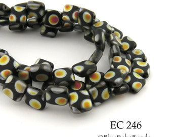 6mm 2 Hole Czech Glass Black Peacock Square Tile Bead (EC 246) 25 pcs BlueEchoBeads