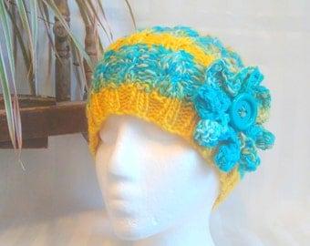 Half 'n Half Cable Beanie. Handspun Knit Hat. Optional Crochet Flower. Merino Wool Yarn. Wool Mohair Yarn. Sunshine. Lemon Yellow.Turquoise