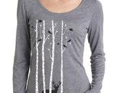 Holiday SALE Birch Trees t-shirt, Women's long sleeve graphic t-shirt , Deer, Stag, Reindeer, Birds, Snow