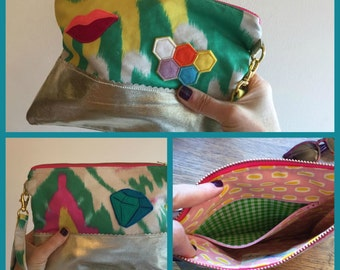 Handmade Applique Gold Leather and Ikat Linen Clutch,  Colorful Fun Disco Bag, Evening Purse, Vacation Carryall