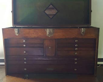 Large 11 Drawer Oak Gerstner Machinist Tool Chest with Key and Cover