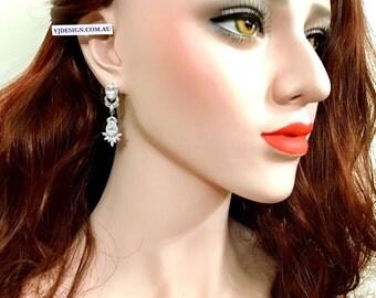 Marquise Bridal Earrings, Teardrop Wedding Earrings, Cz Drop Earrings, Statement Earrings, Cubic Zirconia Wedding Jewelry, RISKA