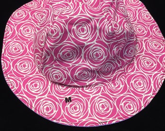 Reversible pink roses  sunhat sizes newborn to adult