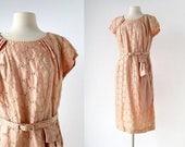 20% off sale Vintage 50s Dress | Embroidered Peach Dress | 1950s Dress | L XL