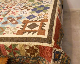Double Bed Quilt / Full Size Bed Quilt / 3's Company Quilt / Thimbleberries / Double Patchwok Quilt / 80 inches x 99 inches