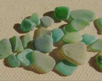 26 Piece Bumper Pack Seaglass Treasures (SG1882) Mixed Herb Garden Green and Blue Green Mediterranean Beach Glass