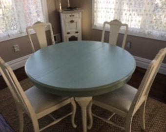 Creamy White and Soft Aqua Table and 6 Chairs