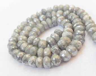 Silverite Gemstone Bead. Semi Precious Gemstone, Faceted Silverite Rondelle 6.5mm  Natural Gemstone. Strand Your Choice (51slv)