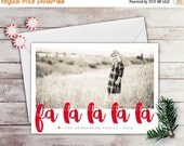 SALE Fa La La La La Photo Holiday Card - Photo Christmas Card - Printable Winter Photo Card - New Years Card - Red Holiday - Personalized -